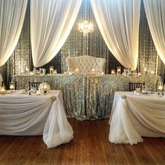 White and silver wedding set up