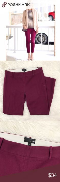 J.Crew Minnie Cranberry Skinny Career Pant Flattering cotton/ elastic blend J.Crew Minnie ankle crop career pant. Side zipper. Beautiful cranberry tone. Used condition with no flaws. J. Crew Pants Skinny