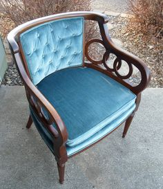 Our new chairs, but ours are gold velvet. 2 Vintage LEWITTES Hollywood Regency Club Chair Upholstered Chair Side Chair Dark Wanlut Finish Circles.