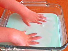 Oobleck Sensory Activity for Pre-K and Kindergarten- did this in my science block class, super clean for little ones