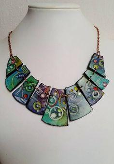 Necklace polymer clay unique handmade original design