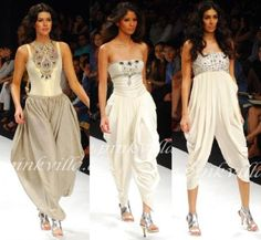 The middle one. The one on the right is atrocious.     Payal Singhal's collection at LFW 2010