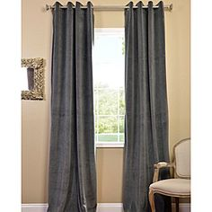 Gorgeous grey velvet to enjoy during the day, and then at night, they're blackout curtains so you can get some sleep.