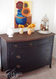 Painted Dresser with MMS Milk Paint in Typewriter. Tips for painting with milk paint. Chalk Paint Furniture, Furniture Projects, Diy Furniture, Kitchen Furniture, Diy Projects, Automotive Furniture, Automotive Decor, Furniture Refinishing, Furniture Movers