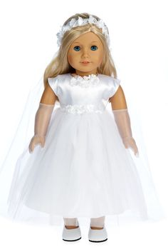 White satin communion dress has 3 layers of tule skirt, white long gloves, long veil and white leather like shoes. - Communion doll dress contains a wide back closure for easy dressing and clothing re