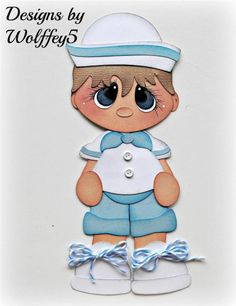 ELITE4U SAILOR BOY paper piecing premade scrapbook page layout album  WOLFFEY5