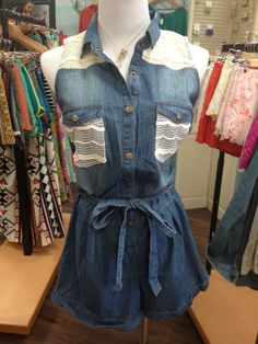 sister kate's has this denim romper accented with LACE