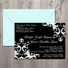 Damask Statement Wedding Invitation - DIY Printable Invitation $15.00