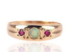 Jugendstil 333 Rot Gold Rubin Australischer voll Opal Damen Ring ! in Antiquitäten & Kunst, Antikschmuck, Schmuck nach Epochen | eBay