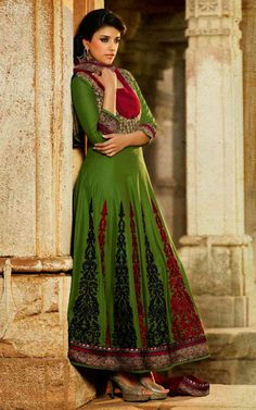 RED & GREEN COTTON ANARKALI SALWAR KAMEEZ - DIF 29569