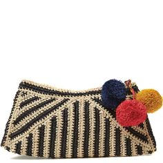 Mar Y Sol Sonia Raffia Clutch in Black