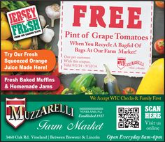 Get a FREE Pint of Grape Tomatoes at Muzzarelli Farm Market when you recycle a bagful of bags at there farm market.