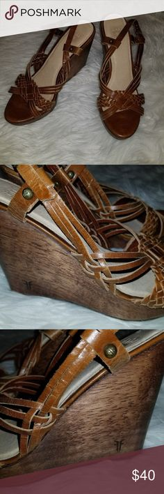 Frye Wedge Brown Strappy Leather Heels Size 8M Frye Heels  Wedge Shoes  Strappy Style  Brown Leather  Size 8M  In Good Condition  From a smoke free home Frye Shoes Wedges