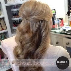 bridal hair, half up wedding hair, long curls