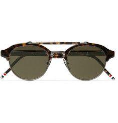 Thom Browne Round-Frame Metal and Acetate Sunglasses