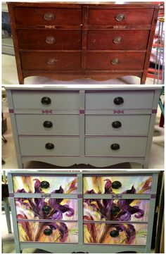 Dresser progression. 1) original finish 2) P.E.P. Moonstone and Rhodolite 3) print using P.E.P Gel Medium