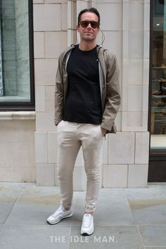 Mens Street Style | Chilled Out Chinos - Chinos don't have to be the smart alternative. Worn in a skinny fit paired with trainers they can be a great casual alternative to jeans | Shop the look at The Idle Man