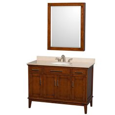 """View the Wyndham Collection WC161648SCLRMED 44"""" Free Standing Vanity Set with Hardwood Cabinet, Marble Top, Undermount Sink, and 28"""" Medicine Cabinet from the Hatton Collection at Build.com."""