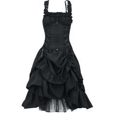 Dress with figure-hugging corset look, detachable corset with zipper on the front and lacing on the back. The front part of the skirt can be beautifully gathered. Length: approx. 89 cm.