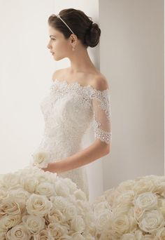 Rosa Clara - 2014 Bridal Collection - 177 / MORGAN Beaded lace dress in a natural colour. 777 – Beaded lace jacket in a natural colour. Black Wedding Dresses, Princess Wedding Dresses, Boho Wedding Dress, Bridal Dresses, Bolero, Bridal Collection, Marie, Lace Dress, Ball Gowns
