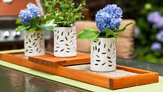 Showcase flowers, candles, and accessories on this DIY cedar tray. This natural beauty is a perfect centerpiece for outdoor entertaining. Skill level: Beginner