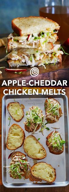 Fondants à la pomme, au cheddar et au poulet Apple, Cheddar & Chicken Melts Recipe. Add this to the top of your fall recipes and ideas list! This wonderful sheet pan meal is an easy way to serve up new autumn comfort foods for dinner – for a crowd even. Chicken Melt Recipe, Chicken Recipes, Queso Cheddar, Cooking Recipes, Healthy Recipes, Pie Recipes, Potato Recipes, Vegetable Recipes, Delicious Sandwiches