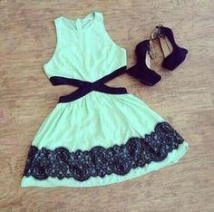3117336054299162917540 Mint green/black side cut out dress  heels.