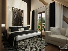 Hotel v štýle glamour Glamour, Luster, Oversized Mirror, Bed, Furniture, Home Decor, Luxury, Colors, Decoration Home