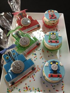 Thomas And Friends Birthday Party Thomas the tank theme birthday Thomas Birthday Cakes, Thomas Birthday Parties, Thomas The Train Birthday Party, Birthday Pins, Trains Birthday Party, Train Party, Birthday Cookies, Friend Birthday, 3rd Birthday