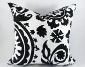 Pillow Cover any size Premier Prints Suzani Black and White Suzani