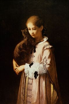 ⍕ Paintings of People & Pets ⍕   William Morris Hunt   Girl with Cat