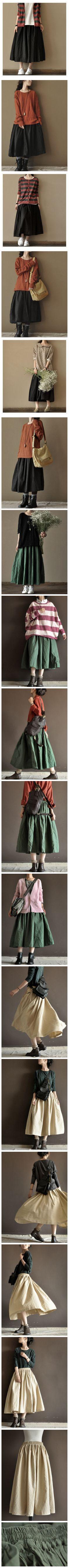 Four Colours Linen Skirt Big Hem Women Dress Sun Skirt by Fantasylinen