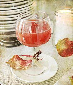 Fall cocktail with apple cider, pomegranate juice and rum from ~ frenchlarkspur ~