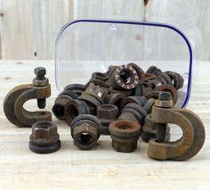 Metal Lug Nuts ~ Scrap, Industrial, Rusted Metal, Assemblage, Sculpture Metal, Metal Art, Altered Art, Industrial, Metal #1-75 by DogFaceMetal on Etsy