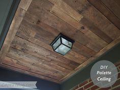 Front Porch Pallet Wood Ceiling.