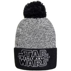 Star Wars Force Awakens Bobble Hat (Grey/Black) found on Polyvore featuring accessories, hats, grey hat, black hat, gray hat, bobble hat and bobble beanie