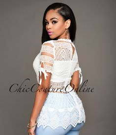Chic Couture Online - Estrella Off-White Eyelet Luxe Top.(http://www.chiccoutureonline.com/estrella-off-white-eyelet-luxe-top/)