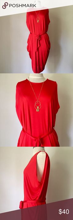 NEW Red Drapey Dress New and never worn! Gorgeous red dress with draping. Belted tie at waist. Moda International Dresses