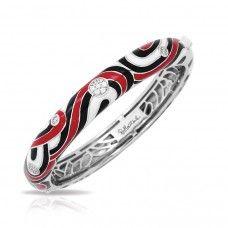"""Belle Etoile Sterling Silver And Enamel """"Vortice"""" Bangle Bracelet"""
