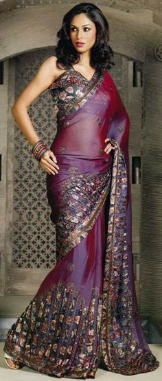 Purple Shimmer georgette Embroidered party saree