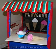 so cute ~ ice cream shop from a card board box...