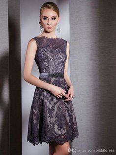 Purple Lace Short Mother Of The Bride Dresses