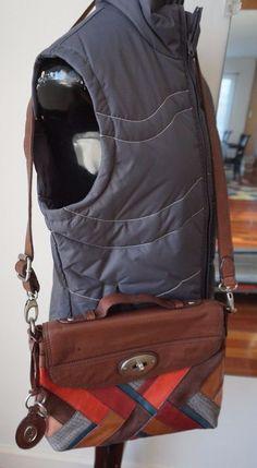 7ce60879a7be FOSSIL  LONG LIVE VINTAGE  1954 PATCH Leather Handbag Multi Color Purse BAG   Fossil  Handbag