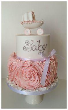 Peach ruffle rose Swarovski crystal baby cake by Cakesncrafts