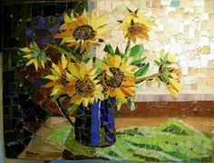 Sunflowers in a Blue Pot by the Window | Flickr - Photo Sharing!