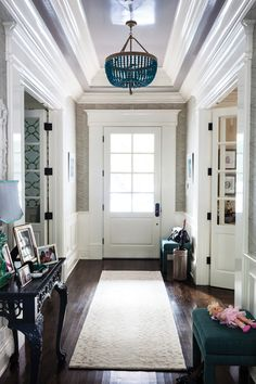 C Magazine - entrances/foyers - Ro Sham Beaux Malibu Turquoise 3-Arm Chandelier, long foyer, foyer, entrance, tray ceiling, foyer tray ceili...