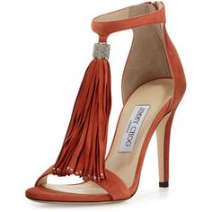 Jimmy Choo Viola Suede Tassel Sandal (1,385 CAD) ❤ liked on Polyvore featuring shoes, sandals, heels, agate, high heel ankle strap shoes, ankle strap sandals, open toe high heel sandals, tassel sandals and suede shoes