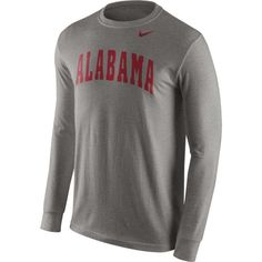 Nike Men's Alabama Crimson Tide Grey Wordmark Long Sleeve Shirt, Size: Medium, Team
