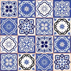 Gorgeous seamless patchwork pattern from colorful Moroccan tiles, ornaments. Can be used for wallpaper, pattern fills, web page background,surface textures. Turkish Tiles, Moroccan Tiles, Patchwork Patterns, Tile Patterns, Blue Tiles, Motif Floral, Decoupage Paper, Tile Art, Delft