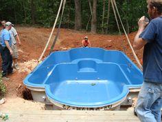 Sedona fiberglass pool being craned into place